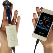 StethAid is a low-cost mobile device-based digital stethoscope that lets pediatric healthcare providers know instantly if a heart murmur is innocent or a signal of a more pathological heart problem