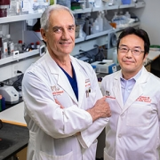 Dr. Jonas and research collaborator Nobuyuki Ishibashi in the laboratory.