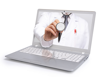 doctor's stethescope coming out of a computer