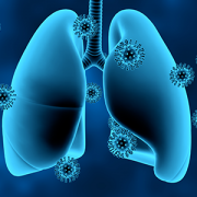 illustration of lungs surrounded by virus