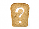 piece of bread with question mark cut out
