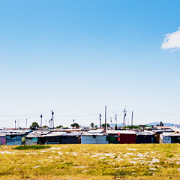 Crowded makeshift buildings of a shantytown