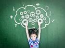 girl with smart brain imagination doodle