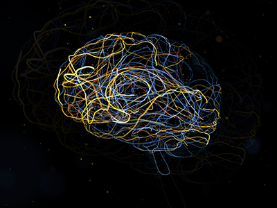 3d render of brain form
