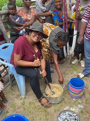 Neerja Vashist learning how to make fufu